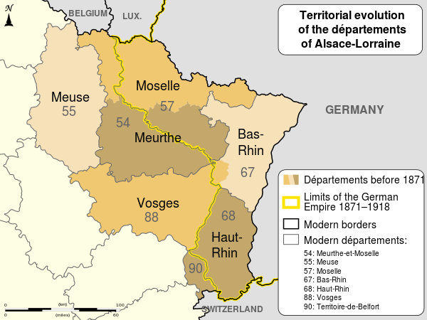 Political Map depicting Territorial evolution of Alsace-Lorraine